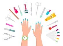 Manos, herramientas de la manicura y esmaltes de uñas femeninos stock de ilustración