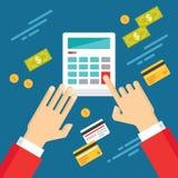 Manos humanas con la calculadora y el dinero del dólar - ejemplo del concepto en estilo plano del diseño Imagen de archivo libre de regalías