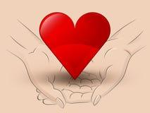 Manos humanas del control dos rojos del icono del corazón a través del vector Fotos de archivo libres de regalías
