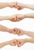Manos humanas que demuestran un gesto de una distensión Imagen de archivo libre de regalías