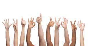 Manos humanas que muestran los pulgares para arriba, muy bien y los signos de la paz Imagen de archivo