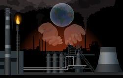 Manos humanas que sostienen el globo stock de ilustración