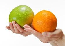 Manos humanas que sostienen las frutas frescas Foto de archivo libre de regalías