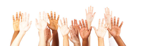 manos jovenes Multi-étnicas del ` de los adultos fotografía de archivo
