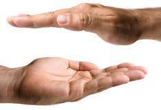 Manos masculinas en blanco Imagenes de archivo