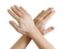 Manos masculinas que muestran la muestra de la parada Fotos de archivo