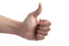 Manos masculinas que muestran los pulgares Imagen de archivo libre de regalías