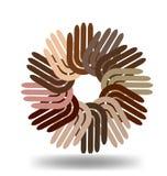manos Multi-étnicas en un icono del vector del círculo libre illustration