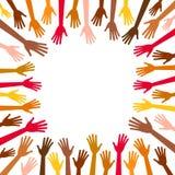Manos multicoloras de la diversidad Imágenes de archivo libres de regalías