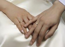 Manos novia y novio Fotografía de archivo libre de regalías