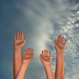 Manos para arriba Imagen de archivo libre de regalías
