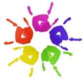 Manos pintadas dedo colorido Imagen de archivo