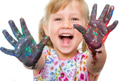 Manos pintadas demostración emocionada del niño Fotografía de archivo
