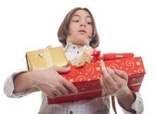 Manos por completo de presentes Foto de archivo libre de regalías