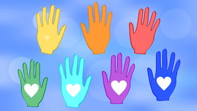Manos que agitan en colores del arco iris en un fondo azul del bokeh Corazones blancos en las palmas Animación con un tema de la  libre illustration