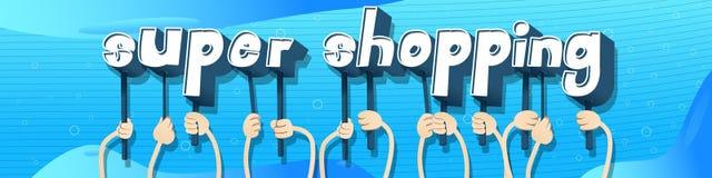 Manos que celebran las compras estupendas de las palabras libre illustration