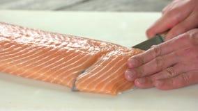 Manos que cortan salmones almacen de video