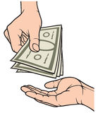 Manos que dan y que reciben el dinero Imagenes de archivo