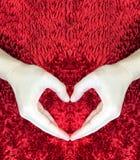 Manos que hacen el corazón en fondo mullido rojo Concepto del día del ` s de la tarjeta del día de San Valentín Concepto del amor Foto de archivo