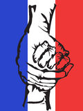 Manos que llevan a cabo el fondo de Francia de la solidaridad Foto de archivo