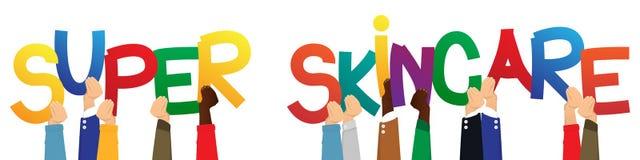 Manos que llevan a cabo las palabras Skincare estupendo stock de ilustración