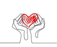 Manos que llevan a cabo un corazón stock de ilustración