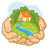 Manos que llevan a cabo un trozo de tierra con una casa stock de ilustración