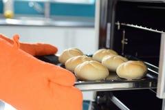 Manos que ponen en los rollos de pan del horno Imagen de archivo libre de regalías
