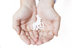Manos que protegen a un ser humano discapacitado Foto de archivo libre de regalías