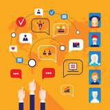 Manos que señalan en avatares de la gente e iconos del negocio para el diseño plano del web Imagen de archivo libre de regalías