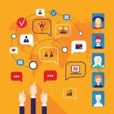 Manos que señalan en avatares de la gente e iconos del negocio para el diseño plano del web Imagenes de archivo