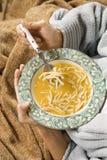 Manos que sostienen el tazón de fuente de sopa de tallarines del pollo. Imagen de archivo libre de regalías