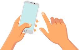 Manos que sostienen el teléfono elegante ilustración del vector
