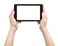 Manos que sostienen la PC de la tableta con la pantalla cortada Fotos de archivo