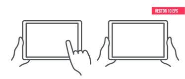Manos que sostienen la tableta y que tocan la pantalla en blanco Línea icono Tecnología en línea ilustración del vector