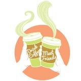 Manos que sostienen las tazas de café dispossable Cubierta de cartulina con el texto Foto de archivo libre de regalías