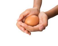 Manos que sostienen los huevos IX Fotografía de archivo