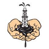 Manos que sostienen una plataforma petrolera Producción petrolífera ilustración del vector