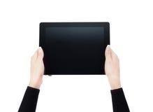 Manos que sostienen una tablilla imágenes de archivo libres de regalías