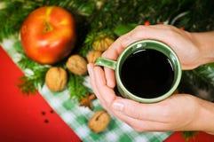 Manos que sostienen una taza de vino reflexionado sobre tradicional Foto de archivo libre de regalías