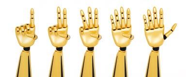 manos robóticas 3d que muestran números stock de ilustración