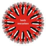 Manos rojas Imagen de archivo libre de regalías