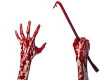 Manos sangrientas con una palanca, gancho de la mano, tema de Halloween, zombis del asesino, fondo blanco, palanca aislada, sangr foto de archivo libre de regalías