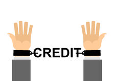 Manos shackled con crédito de las cadenas Esclavitud financiera Nuestro efectivo l Imagen de archivo