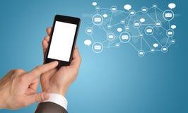 Manos, smartphone y contactos imagen de archivo libre de regalías