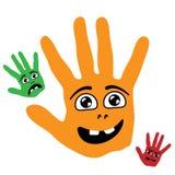 Manos sonrientes de la palma Foto de archivo libre de regalías