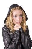 Manos tristes de la muchacha de la expresión bajo la barbilla Foto de archivo libre de regalías