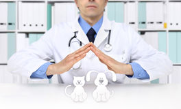 Manos veterinarias del doctor con los iconos animales Clínica del veterinario fotos de archivo