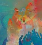 Manos y cielo Imagen de archivo libre de regalías