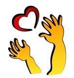 Manos y corazón Imágenes de archivo libres de regalías